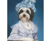 Tibetan Terrier Prints, Lulu, Dog Art Portrait, Dog in Clothes