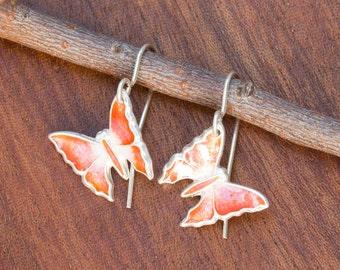 Silver Enamel Butterfly Hanging Earrings, Melon Enamel