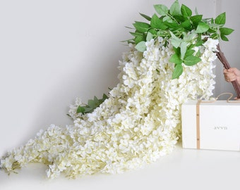 "5pcs Artificial Silk Wisteria Home Garden Hanging Flowers Plants 64"" White Wisteria Wedding Vine Decor Wedding Flower Garland"