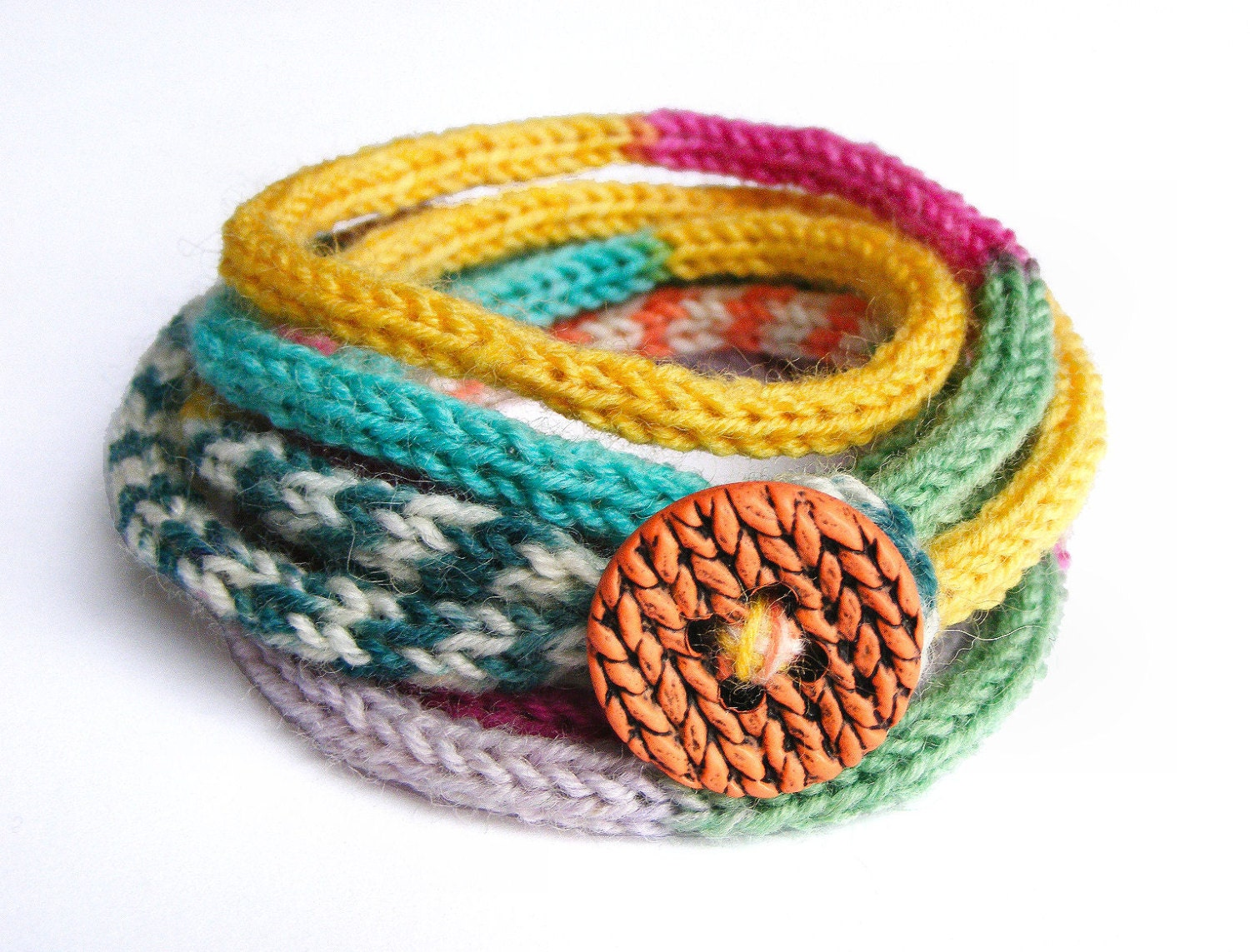knitted bracelet with button s cord bracelet