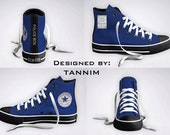 Ready for IMMEDIATE Shipping: The ORIGINAL Custom Police Box Converse Chucks (Size 12 Mens / 14 Womens)