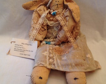 Rabbit Hand Made Soft Sculpture in Antique Clothes--Carole Taylor Creation from Heirloom Collection