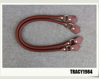 1 Pair Synthetic Leather Bag Purse Handles in Brown