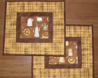 Coffee Cup Quilted Mug Rugs, Quilted Snack Mats, Quiltsy Handmade, Yellow Brown Mug Rugs Snack Mats
