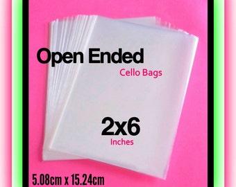 100 ( 2x6 ) Open Ended Cello Bags ..  Non Sealing Cello Bags, Clear 2x6 Cello Bags, Clear Gift Bags, Open Ended Candy Bags 2x6