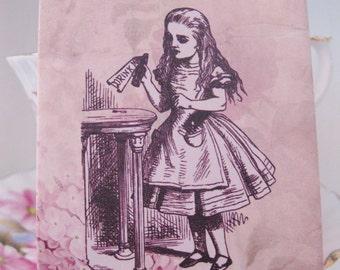 Tea Bag Envelopes - Alice In Wonderland - Pink Rose - Drink Me - Qty of 6 Envelopes