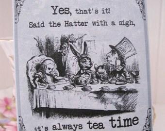 Tea Bag Envelopes - Alice In Wonderland - Blue - Tea Time - Qty of 6 Envelopes