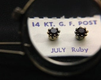 Vintage 1960's 14Kt GF Post Birthstone Earrings - JULY (ABX1D)