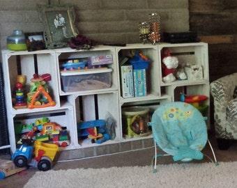 9 PC White Wooden Crate Toy Storage Bookshelf