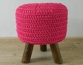 Bright pink crocheted stool, footstool, litte round side table, hocker, Ottoman NEW Handmade