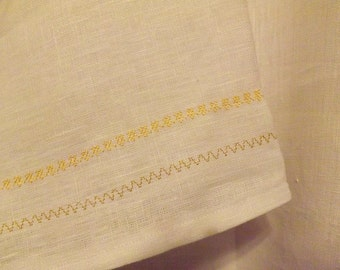 Extra Long Optic White 100% Linen T-Tunic with Matching Belt and Decorative Stitching