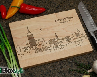 Personalized Cutting Board, Engraved Cutting Board, Custom Cutting Board, Personalized Gift, Wedding Gift,Midtown Manhattan New York Skyline