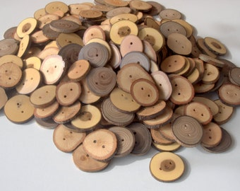 Wood Buttons - Branch Buttons - 200 Buttons - Many Kind Tree Branch Buttons - 1 2/5  -  1 4/5 inches in diameter