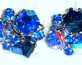 Vintage signed Vogue blue crystal clip on earrings on silver tone base