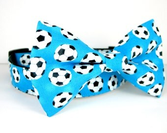 Soccer  Dog Collar with bow tie set(Mini,X-Small,Small,Medium ,Large or X-Large Size)- Adjustable