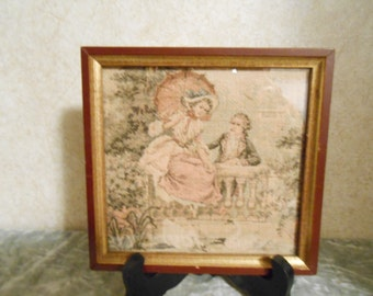Small 1800's Framed Tapestry