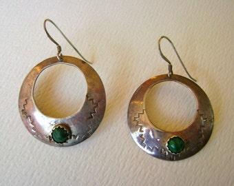 vintage handmade sterling malachite hoop earrings