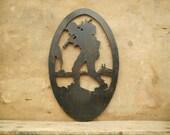 Vintage wall plaque Wooden black wall plaque Door sign Wall hanging Men hiker silhouette