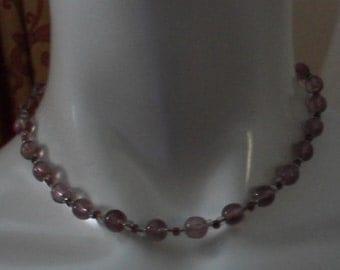 Vintage 1950s Lilac Single Strand Glass Necklace (4085)