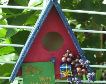 Triangle Bird House Ornament Blue Roof Red House (10)