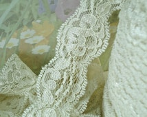 3yds Ivory Stretch Lace Elastic Trim Ribbon Scalloped edging 1 inch wide for diy Lingerie Sewing Headbands Wedding bridal