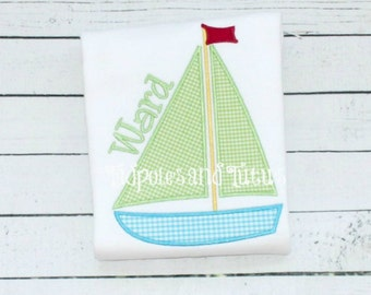 Sailboat Tshirt, Tee or Bodysuit, Personalized Sailboat Applique