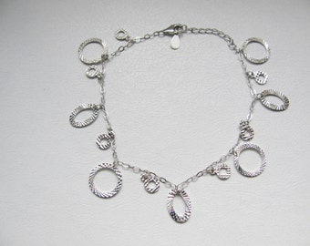 925 Sterling Silver Bracelet with Circles Charm