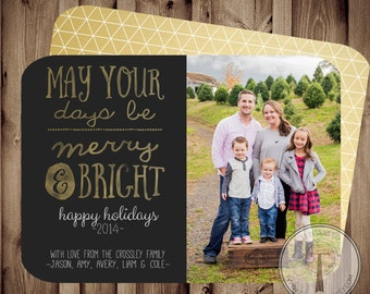 Merry and Bright, Photo Christmas Card, holiday card, Christmas card, snowflake card, Holiday cards,Christmas card, photo holiday card, gold