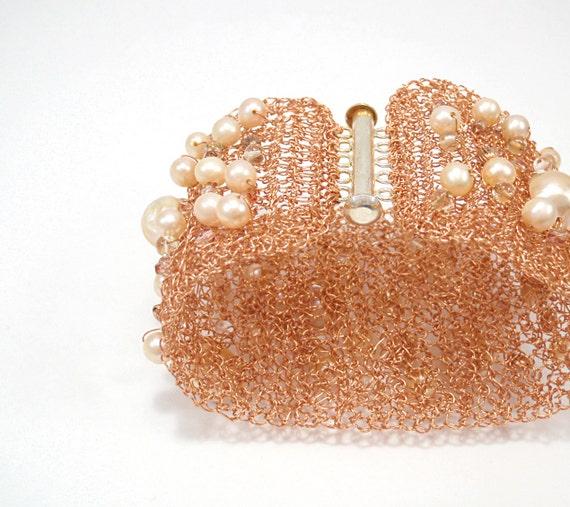 CUSTOM Copper Jewelry SET_ Cuff Bracelet Wire Crochet Wide Cuff Pearl Crystal Beaded & Lace wire Crochet Pearl Earrings