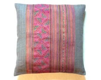"Hmong Traditional Fabric, GREY HEMP handmade fabric - 20"" x 20"" inch PURPLE pillow, Throw pillow cover, Decorative Pillow, Tribal pillow"