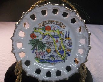 CLEARANCE! was 8.00 Vintage Souvenir Plate Florida, Decorative Plate, Made in Korea T