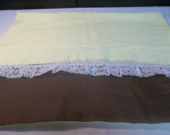 SALE! was 3.00 Vintage Cotton Blend Yellow and Brown with White Lace Standard Pillow Case S