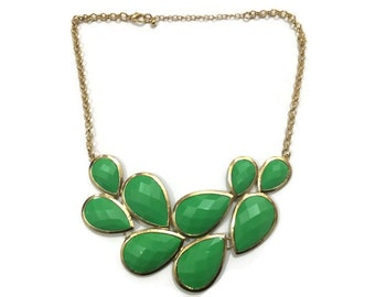Green Statement Necklace - Green Bib Necklace - Green Chunky Necklace - Green Anthropologie Inspired Necklace - Green Necklace