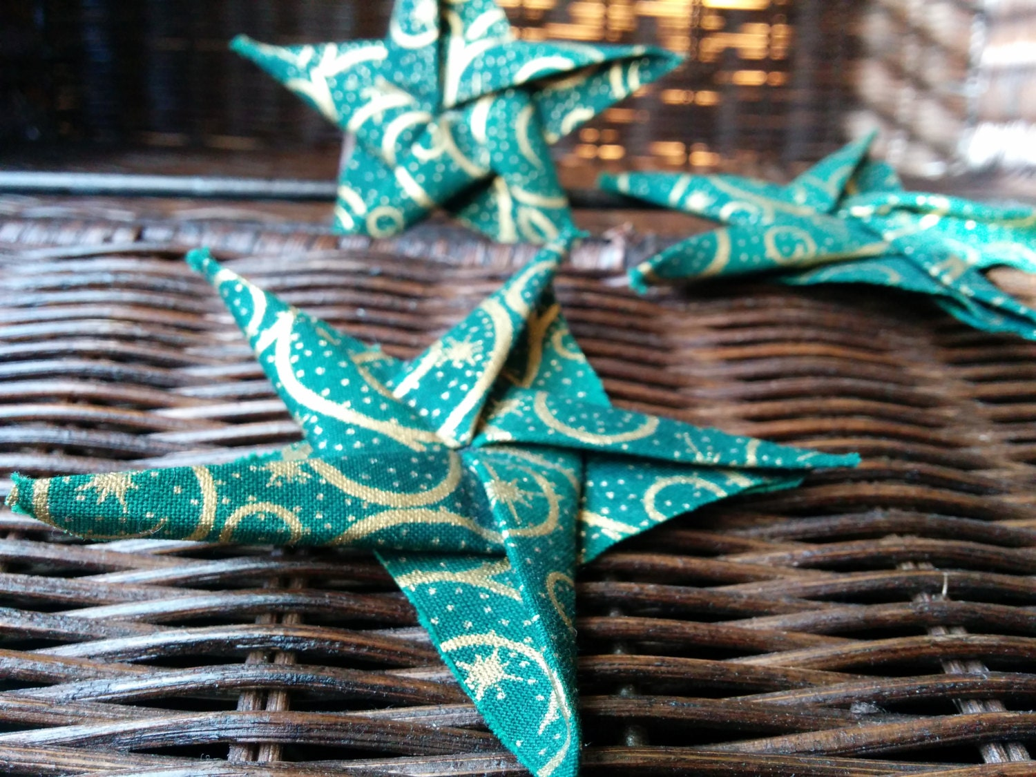 Origami Cotton Fabric Star Ornament Green by ...