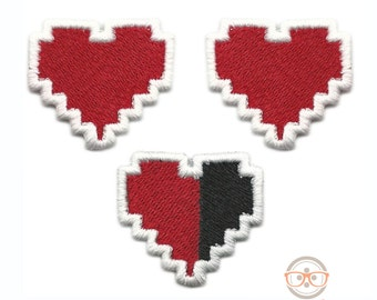 """Legend of Zelda """"Mini"""" Patch Set - HP Health Bar Heart Container - Embroidered Video Game Iron on Patches Applique"""
