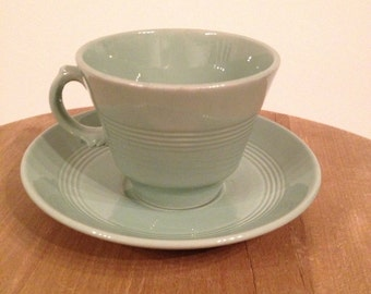 Wood's Ware Beryl Green Cup and Saucer