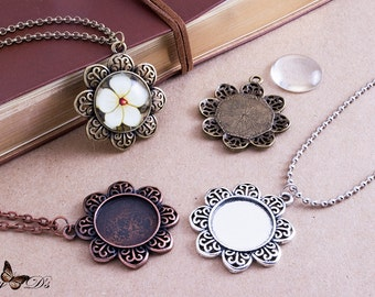 3 Flower Base Kits - 3 20mm Flower Tray Bezel Settings - 3 20mm Round Cabochons - 3 Rolo Link or Ball Chains