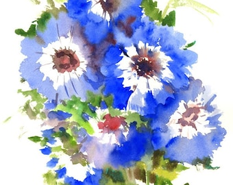 Floral Artwork, Blue Anemones, original watercolor painting, 14 X 10 in, bright blue, electric blue floral art, flowers