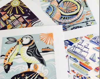Beside the sea- pack of 4 nautical greeting cards