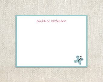 Girl butterfly flat note cards stationery