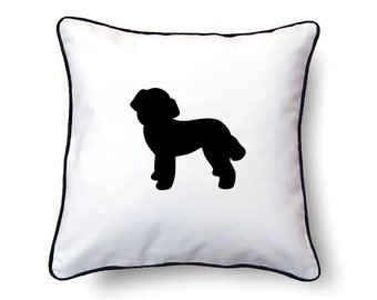 Poodle Pillow 18x18 - Poodle Silhouette Pillow - Personalized Name or Text Optional
