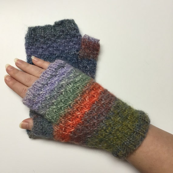 Knitting Patterns Striped Gloves : Striped Hand Knit Fingerless Gloves by Nineteenhundred on Etsy