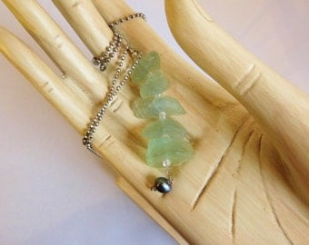 SEA GREEN FLUORITE Industrial Chic Pendant Necklace