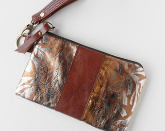 Leather wristlet with metallic highlights.  One of a kind and ready to ship!