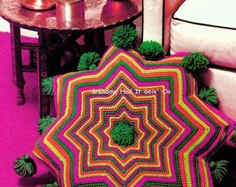 Vintage Crochet Pattern Moroccan Kasbah Pillow Floor Cushion with Tassels Retro Vintage PDF Instant Download - Digital Pattern - Zig Zag