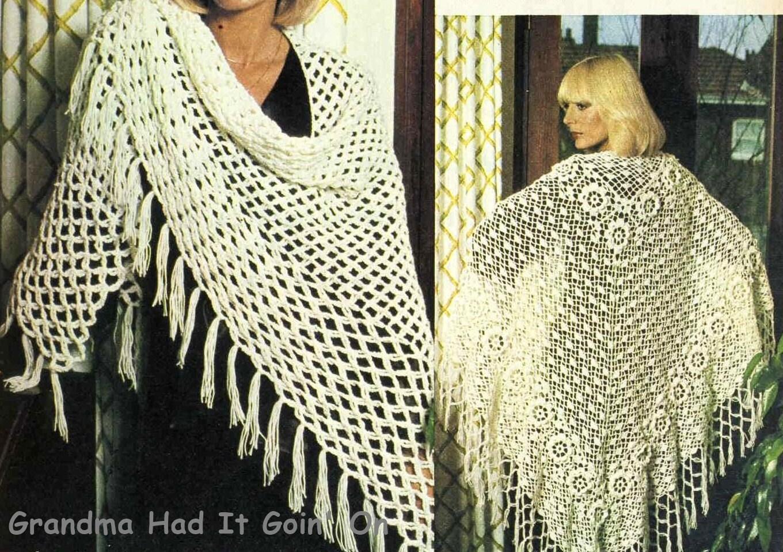 Crochet Patterns For Ladies Shawls : Two Shawl Crochet Patterns Womens Lacy Spiderweb & Flower