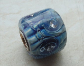 SALE - Blue Silver glass Bead with 4 CZ - Universal - Lined - Big Hole European Style Handmade Lampwork Bead SRA