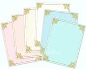 Gold glitter digital paper gold glitter frames Printable Writing paper Stationery paper letter paper Digital download PDF Printable paper