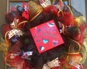 "Disney inspired deco mesh wreath ""Happy Villaintines"""