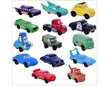 Cars CAKE TOPPER Lightning McQueen Sally Doc 14 Mini Figure Set Birthday Party Cupcakes Figurines Disney * FAST Shipping * 2 inch figures